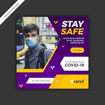 Diseño de plantilla de publicación de redes sociales de coronavirus