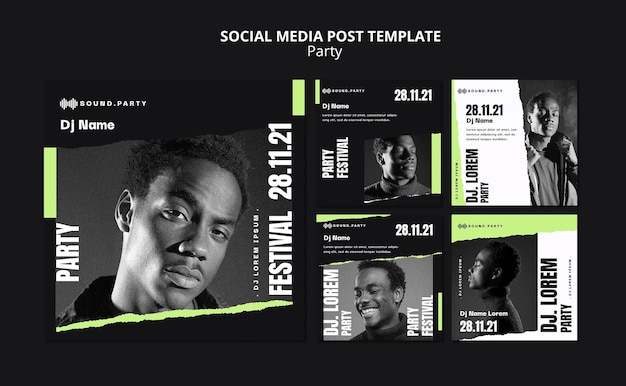 Diseño de plantilla de publicación de redes sociales de fiesta