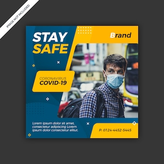 Diseño de plantilla de publicación de redes sociales de virus