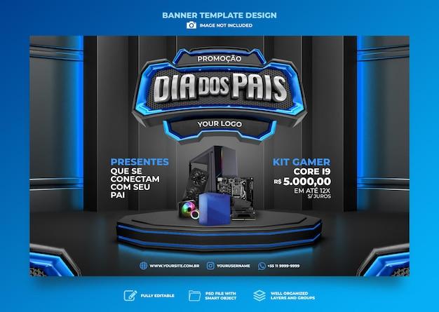 Diseño de plantilla de render 3d del día del padre de banner en el día portugués