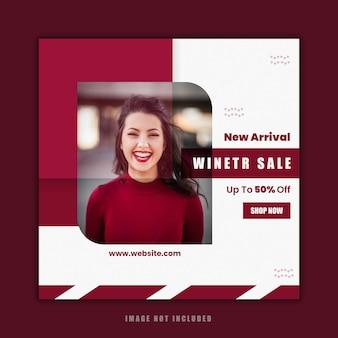 Diseño de plantilla social de venta de moda de invierno