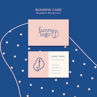 Diseño de plantilla para tarjeta de visita de restaurante