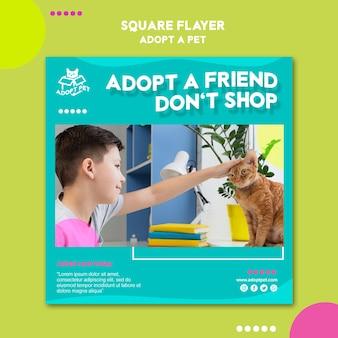 Diseño de plantilla de volante de adopción de mascotas
