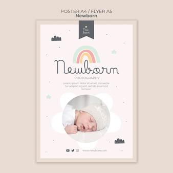 Diseño de plantilla de volante y cartel de bebé recién nacido
