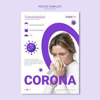 Diseño de plantilla de volante de coronavirus