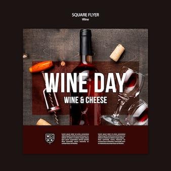 Diseño de plantilla de volante de vino