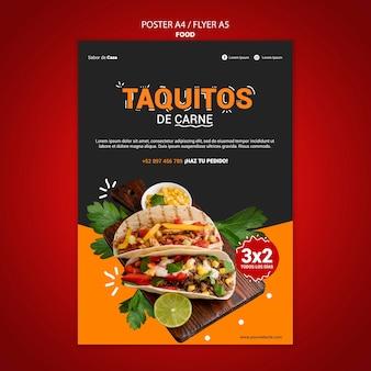 Diseño de plantillas de folletos y carteles de alimentos