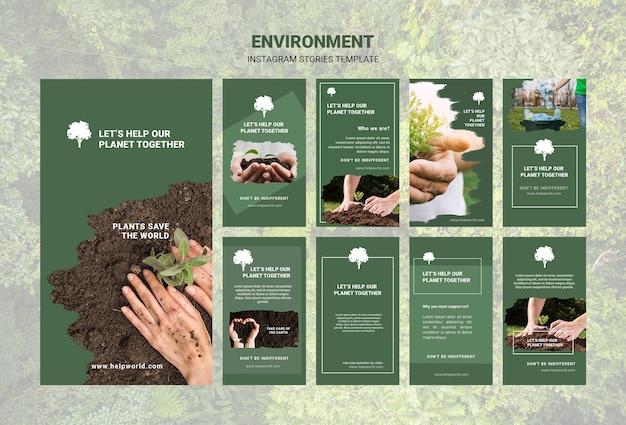 Diseño de plantillas de historias de instagram de medio ambiente