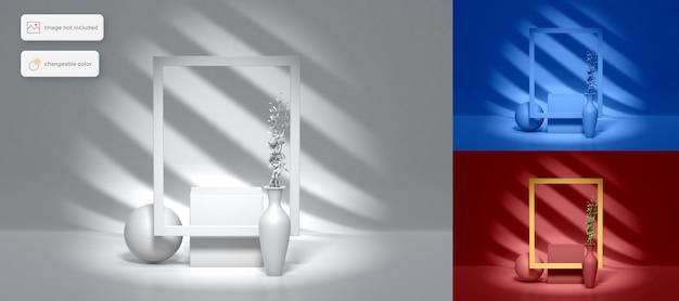Diseño de podio simple en 3d con colocación de productos de fondo de sombra