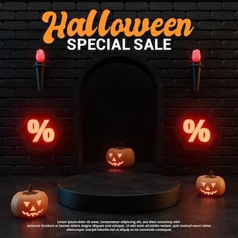 Diseño de podio de venta de promoción temática de halloween.
