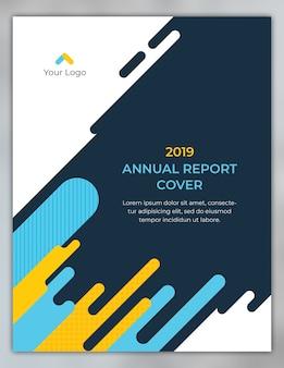 Diseño de portada de informe anual con formas redondeadas