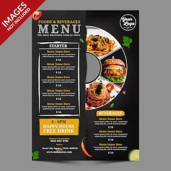 Diseño de portada de menú de comida vintage plantilla psd premium