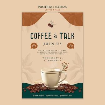 Diseño de póster de café y charla