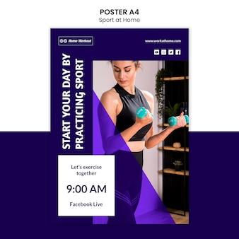 Diseño de póster de deporte en casa
