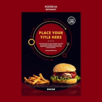 Diseño de póster con hamburguesa