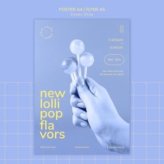 Diseño de póster para plantilla de tienda de golosinas