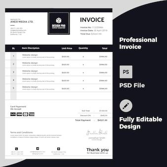 Diseño profesional de facturas
