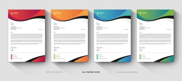 Diseño profesional de plantillas de membrete de negocios modernos con variación de color