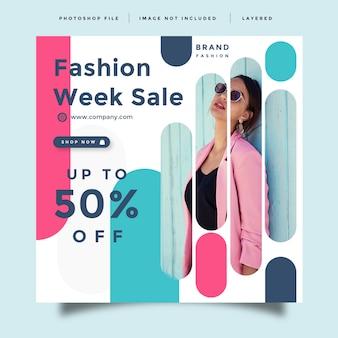 Diseño de promoción de redes sociales de moda