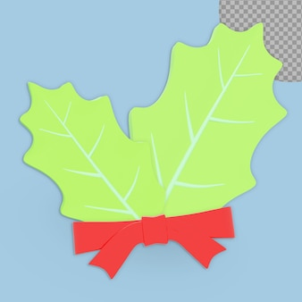 Diseño de representación de hoja de decoración navideña 3d aislado