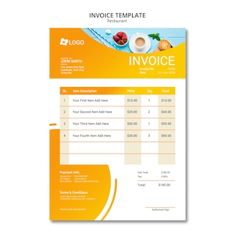 Diseño de restaurante para plantilla de factura