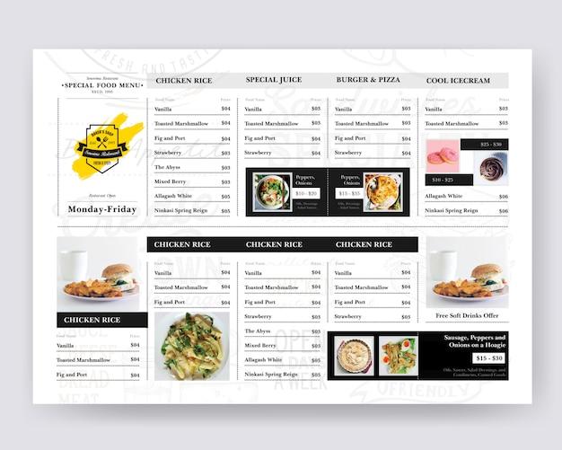 Diseño de tableros de comida para restaurante