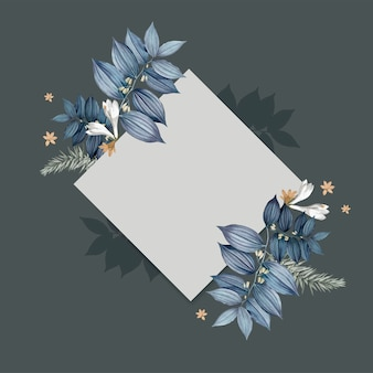 Diseño de tarjeta cuadrada en blanco floral azul