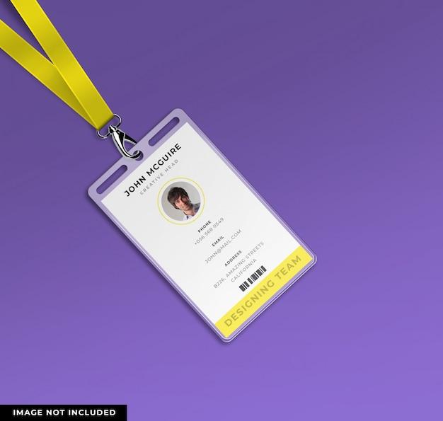 Diseño de tarjeta de identificación de oficina corporativa con maqueta