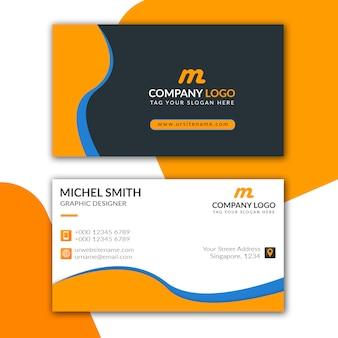 Diseño de tarjeta de visita azul naranja