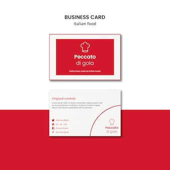 Diseño de tarjeta de visita de cocina italiana