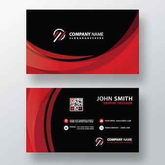 Diseño de tarjeta de visita ondulada roja