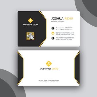 Diseño de tarjetas de visita simple negro y amarillo