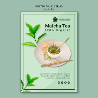 Diseño de té matcha para plantilla de volante