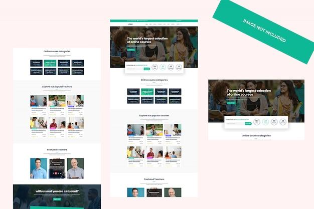 Diseño de tema web, plantilla psd. sistema de gestión de aprendizaje, sitio web de educación