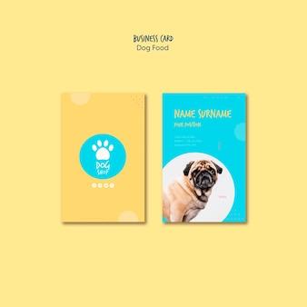 Diseño de tienda de comida para perros para tarjetas de visita