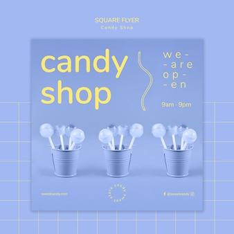 Diseño de tienda de dulces para plantilla de volante