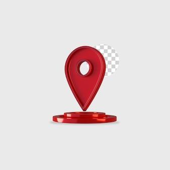 Diseño de ubicación de icono de render 3d
