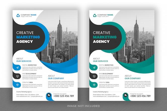 Diseño de volante de agencia de marketing digital de negocios corporativos y plantilla de portada de folleto