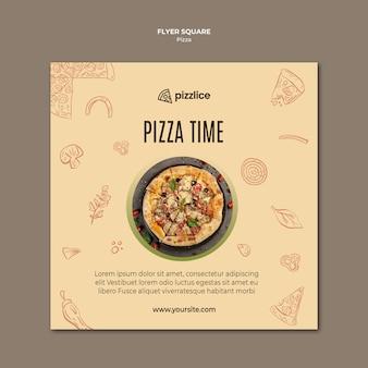 Diseño de volante cuadrado de pizza deliciosa