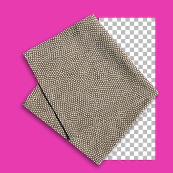 Disparo aislado de servilleta marrón doblada sobre fondo transparente
