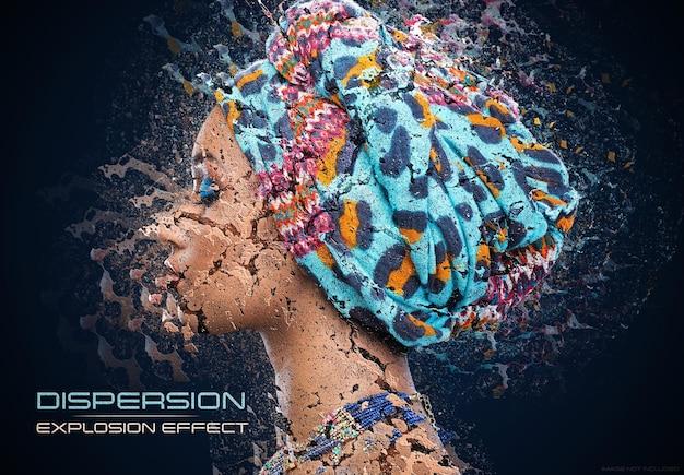 Dispersie explosie foto-effect mockup