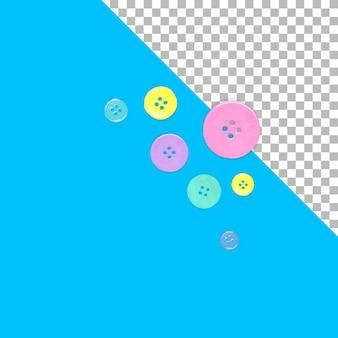 Dispersos de botones de camisa de colores aislados.