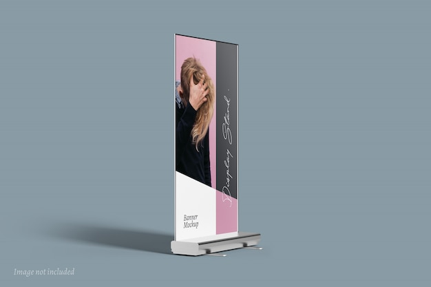 Display stand banner mockup vista laterale