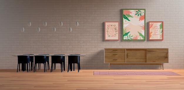 Disposición de cuadros de pintura con espacio vacío.