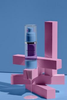 Disposición de maqueta cosmética con elementos de fusión.