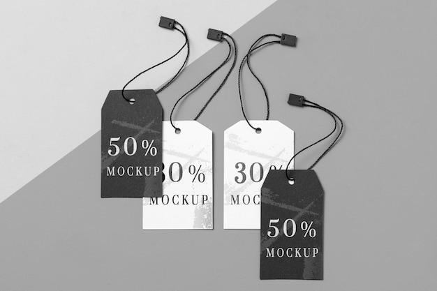 Disposición de maquetas de etiquetas de ropa