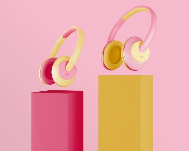 Disposición minimalista de auriculares
