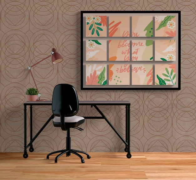 Disposición de pequeños marcos en interiores.