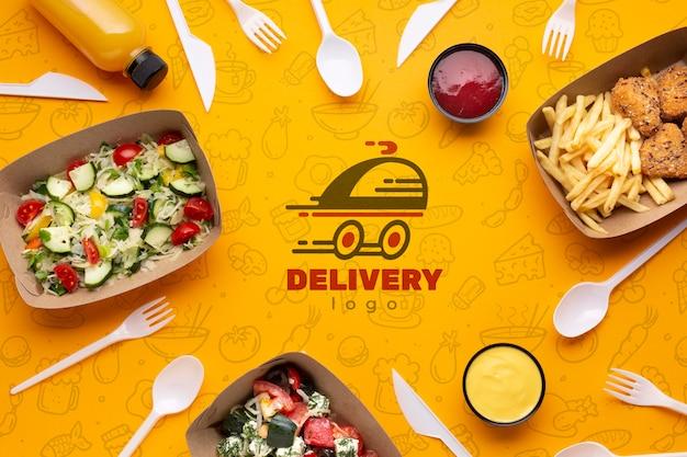 Disposición de servicio de comida gratis y plano con maqueta de fondo