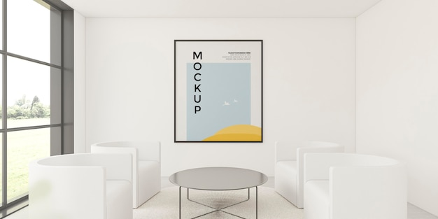 Disposición de la vista frontal para el interior del hogar con maqueta de marco